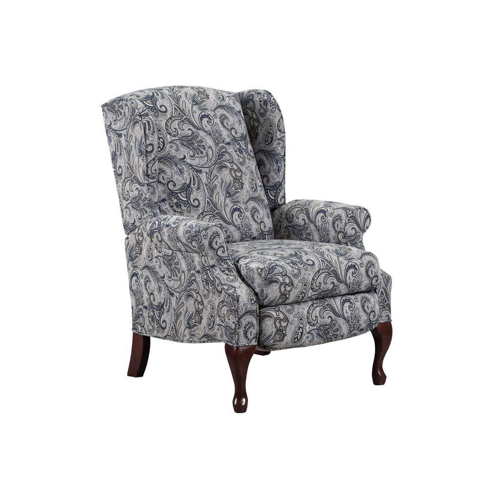 Lane Multi Color Luisa Prussian Hi Leg Wing Back Recliner 6002 11 Luisa Prussian Products In 2019 Recliner Furniture Sleeper Chair