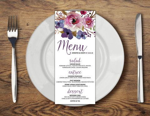 Watercolor Floral Long Dinner Menu #10 //  Sugar Queens Paper Co. // Your one stop shop for all wedding + event invitation and design // We specialize in chic, unique, watercolor, and country themed invitations // layaway options available!