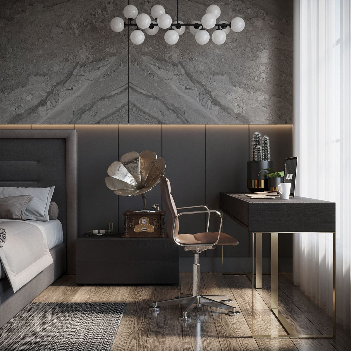 Bedroom In Contemporary Style On Behance: Master Bedroom On Behance In 2020