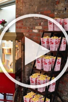 Luv this idea:  Popcorn is also an essential treat for your guests. You can be really creative with this – build a popcorn tower or have bowls scattered around. #Party #MovieNight