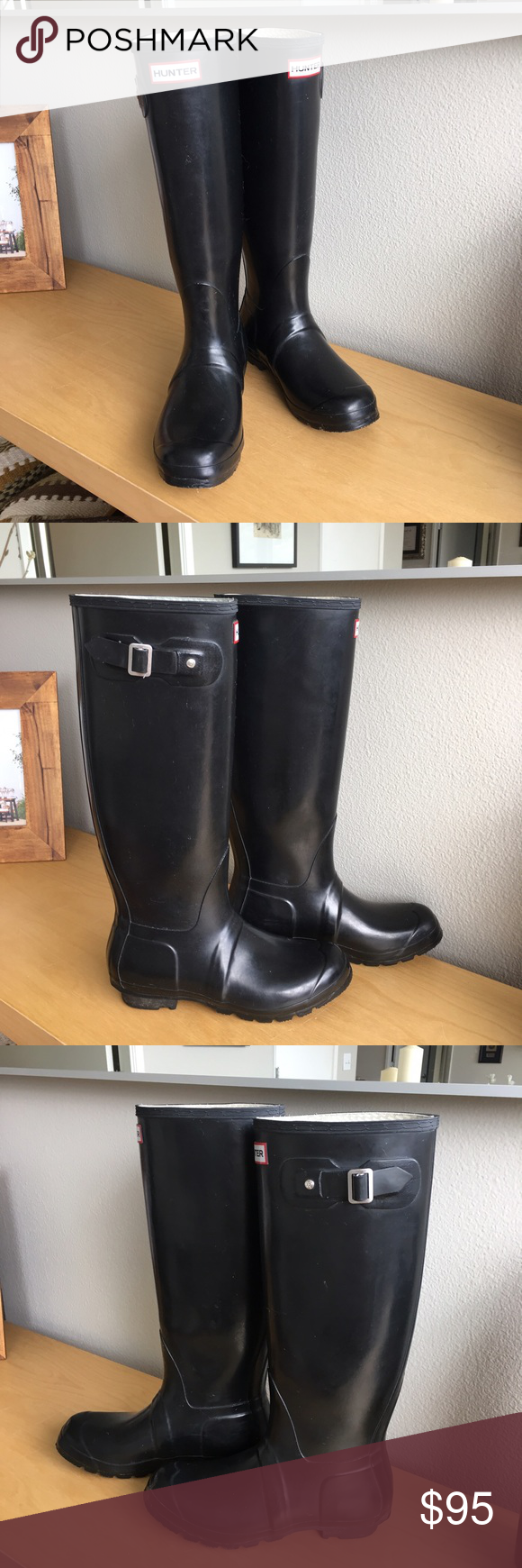 Hunter Black Tall sz 8 Gently worn, excellent condition! I'm a 9 and these are just too small for me. My loss, your gain! Hunter Shoes Winter & Rain Boots