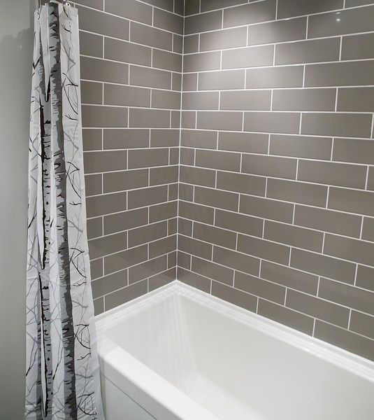 I Love Love Love Subway Tile!   A Small Bathroom Complete DIY Renovation  With Grey Brick Pattern Subway Tiles