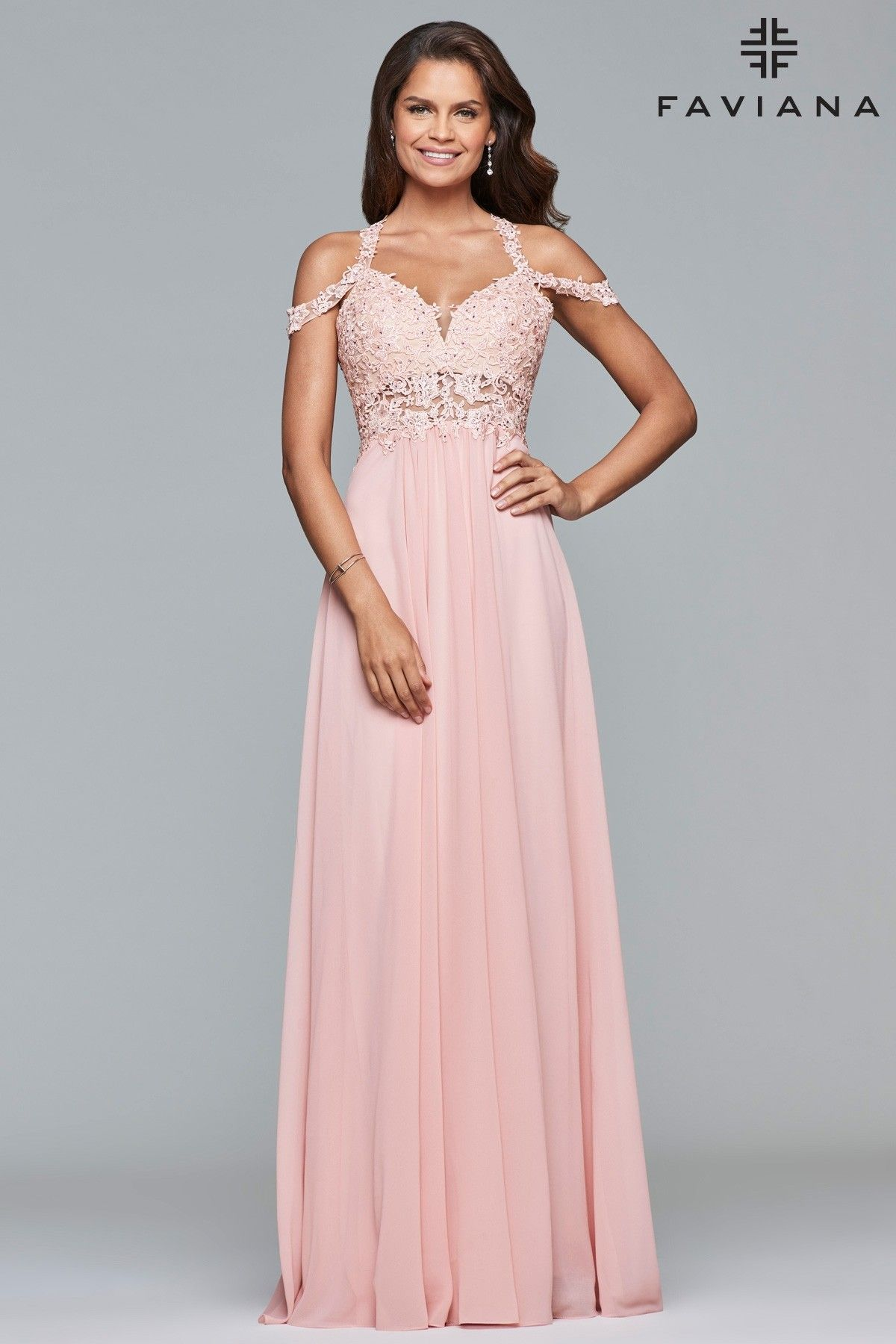 Faviana 10006 Off the Shoulder with Lace and Chiffon Dress ...