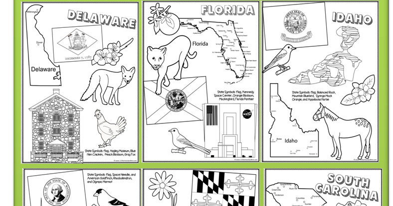 State Coloring Pages Learning states, Homeschool