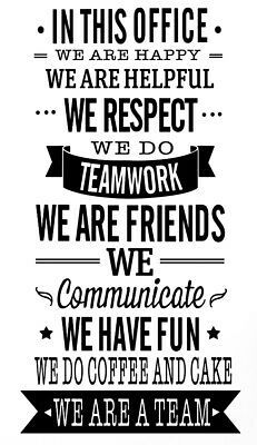 OFFICE RULES TEAMWORK VINYL WALL DECAL QUOTE DECOR STICKERS LETTERING ART WORK | eBay