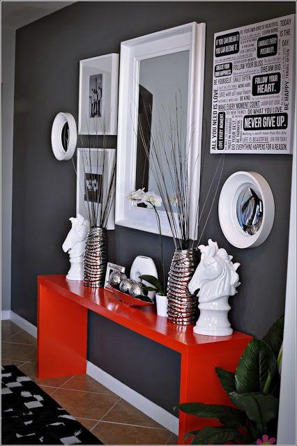 Inspiration de décor en rouge vif, gris et le blanc ! Décor de