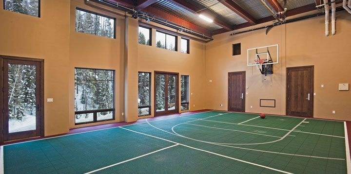 The Wow Factor Over The Edge Chalet The Mountain Mover Indoor Sports Court Indoor Basketball Court Home Basketball Court