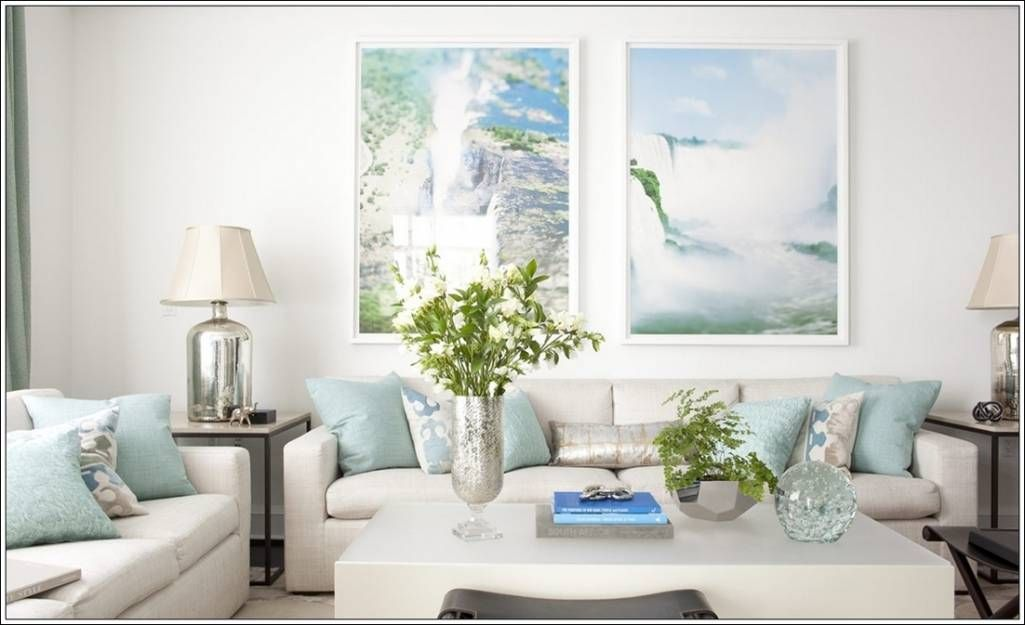 This Living Room Is In Greyish White And Baby Blue Shade Which Is Further Sparked With Detail Blue And White Living Room Living Room New York Living Room Green