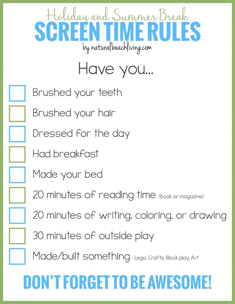 holiday and summer break screen time rules for kids - Kids Free Holiday