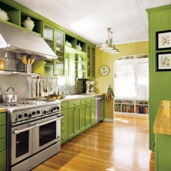 Small Kitchen Designs In Yellow And Green Colors Accentuated With Red Or Light Blue Green Kitchen Walls Green Kitchen Cabinets Yellow Kitchen Designs