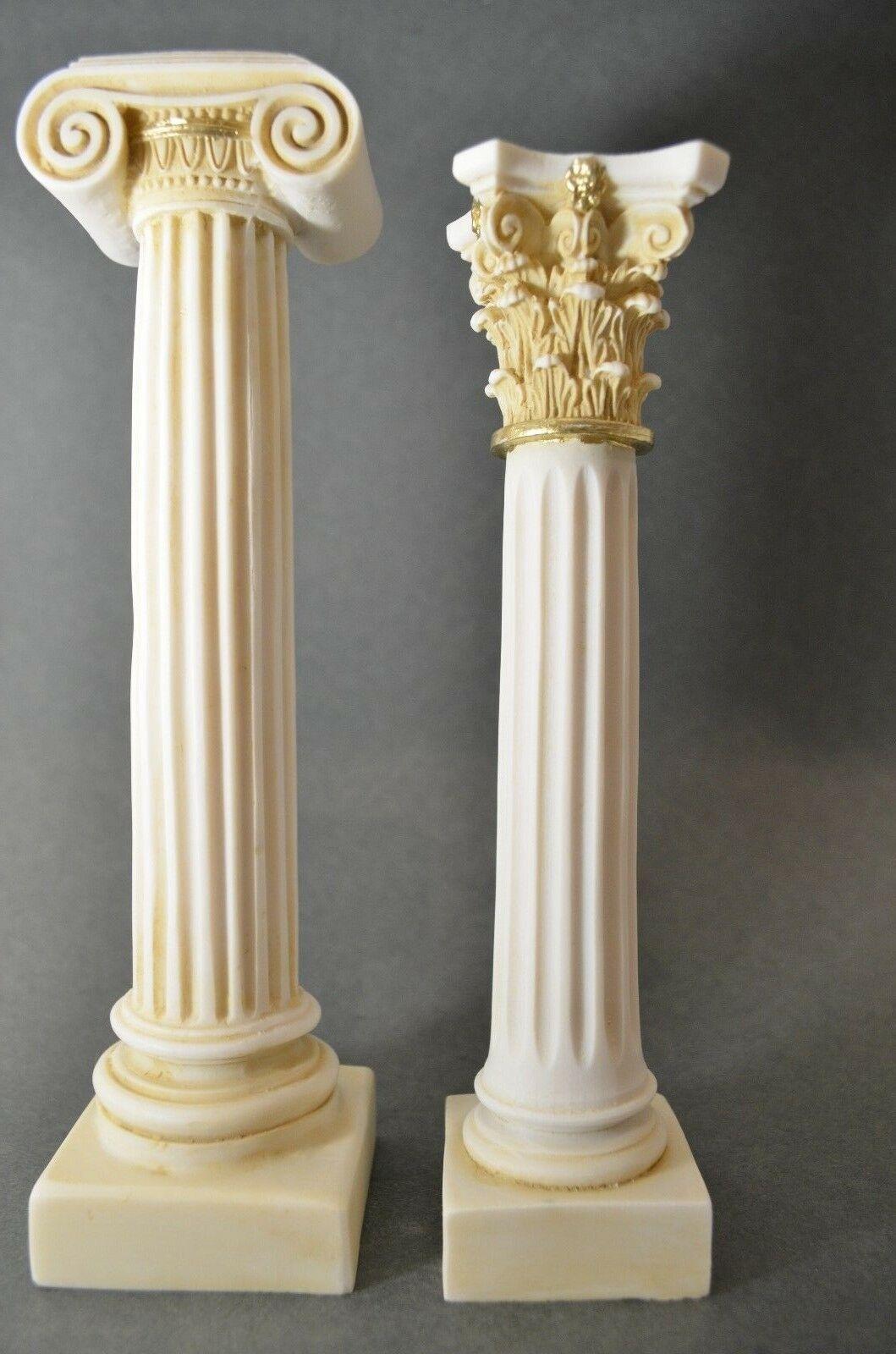 Greek Column Set Corinthian Ionic Order Aged Architecture