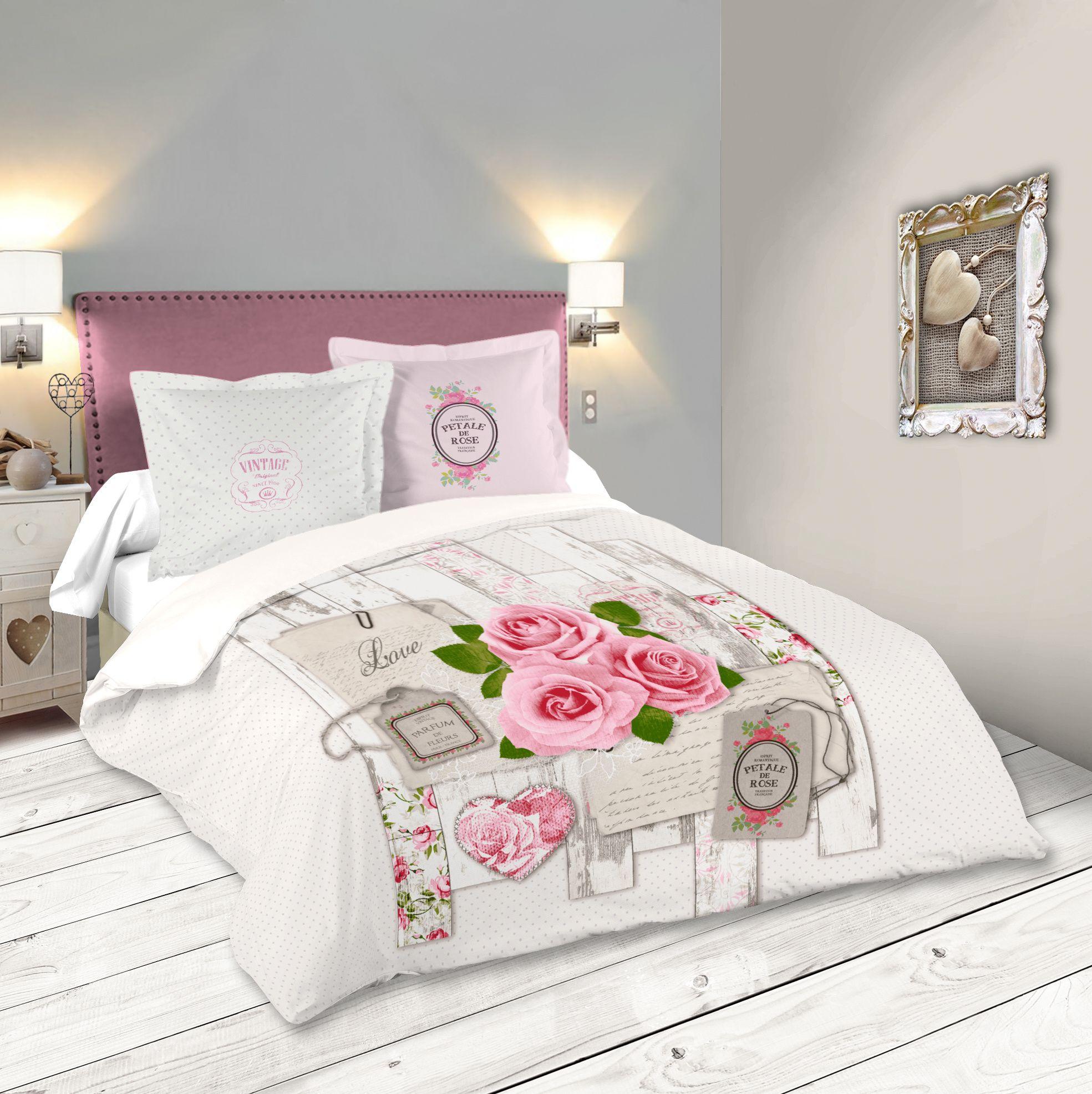 Parure De Lit Romantique Motifs Roses 240x220cm Housse De Couette 2 Taies 63x63cm Capeline Inf Parure De Lit Housse De Couette Romantique Housse De Couette