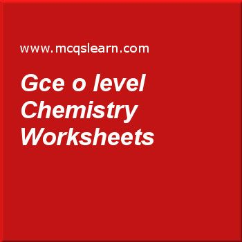 Gce O Level Chemistry Worksheets Chimie