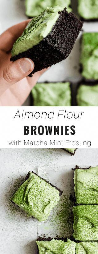 These almond flour brownies with green matcha mint frosting are gluten free, easy and healthier than your average brownie!