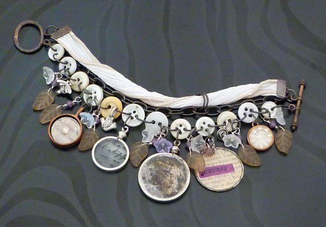buttons, charms, fibers bracelet