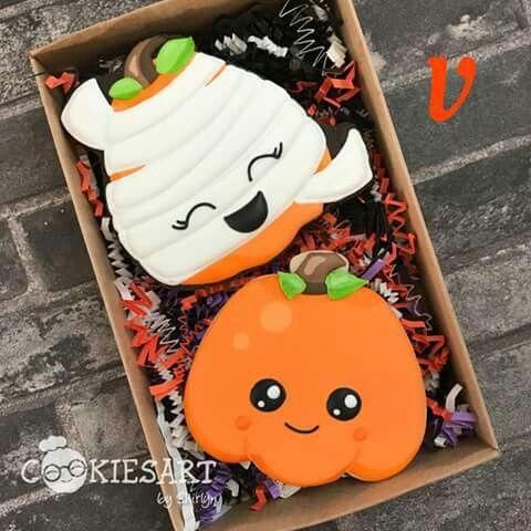 Pumpkin cookies Halloween Cookies Pinterest Cookie decorating - halloween pumpkin cookies decorating