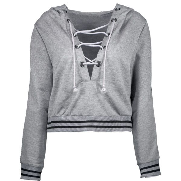a83fd8200b Loose Lace Up Hoodie Gray ( 27) ❤ liked on Polyvore featuring tops ...