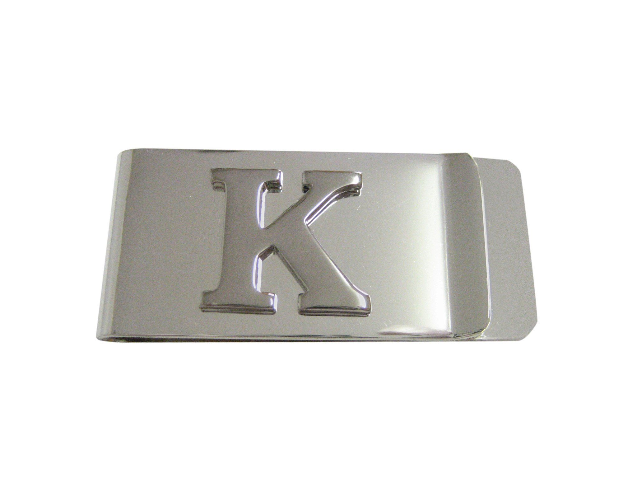 Silver Toned Etched Letter K Monogram Collar Stays