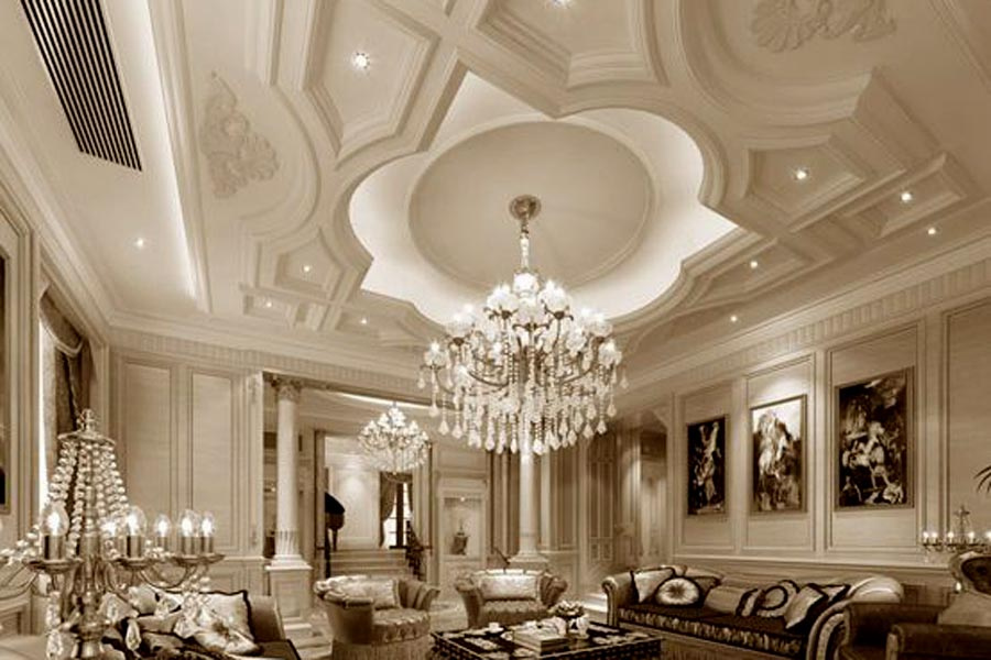 ديكور جبس أسقف كلاسيك لـ ديكورات جبس الفلل والمنازل الفخمة ديكورات أرابيا Model House Plan Model Homes Ceiling Lights
