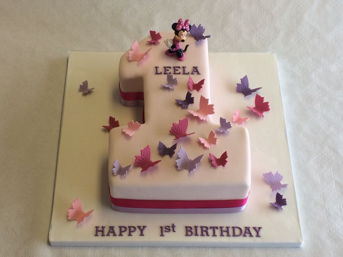 A Simple Yet Beautiful Design For A Little Girl S 1st Birthday Birthdaycakes Baby Birthday Cakes 1st Birthday Cake For Girls Number Birthday Cakes