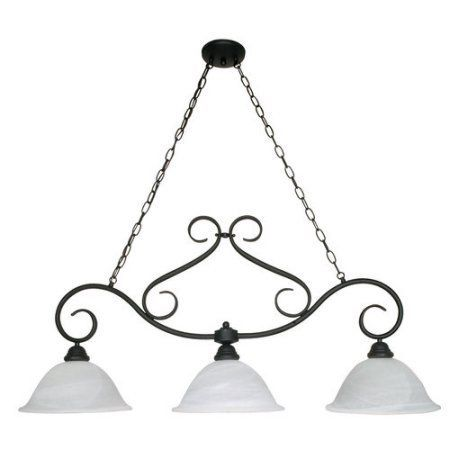 3 Light - 44 in. Trestle - Alabaster Swirl Glass, Black