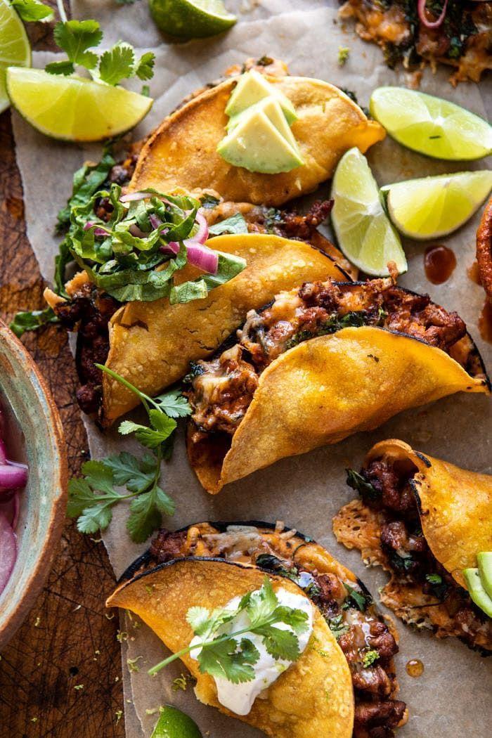 Crispy Chipotle Chicken Tacos with Cilantro Lime R