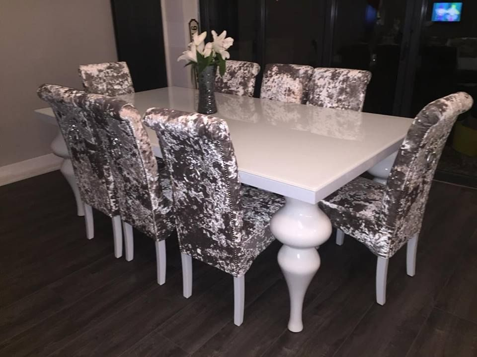 Crushed Velvet Dining Chairs Roll Top