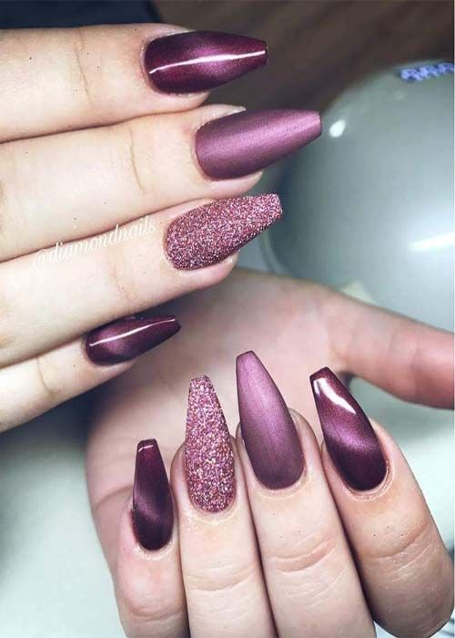 73 Best Acrylic Coffin Nails Ideas With Dark Colors Fall Winter Cat Eye Nails Polish Coffin Nails Designs Cat Eye Nails
