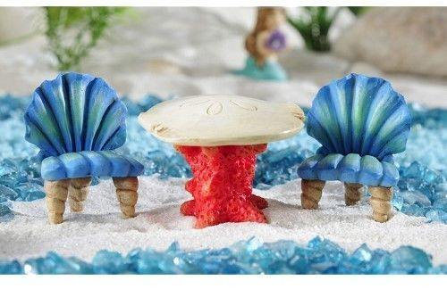 Miniature Beach Garden Sea Life Table and Chairs