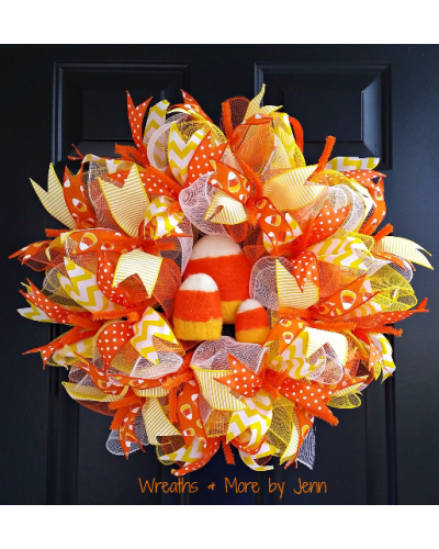 orange and yellow candy corn wreath craftoutletcom photo contest wreaths more - Halloween Candy Wreath