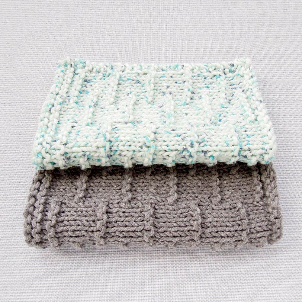Tutorial : Dashed Stripe Knitted Facecloth | Knitted washcloths ...