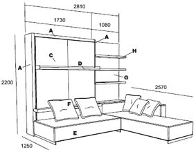 Atoll Wall Bed With Sofa