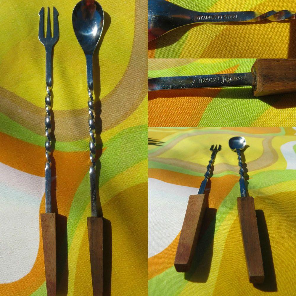 VTG MID Century Danish Modern Nevco Japan Stainless Steel Wood Barware Tools