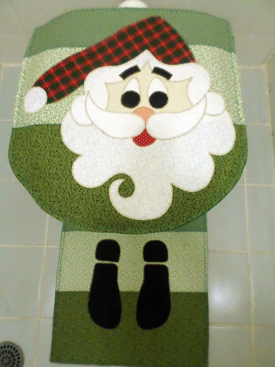 Kit Banheiro Em Tecido : Jogo para banheiro de natal tapete tecido