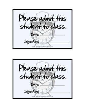 Two Large Tardy Slips Per Page Featuring A Graphic Of Clock And The Words