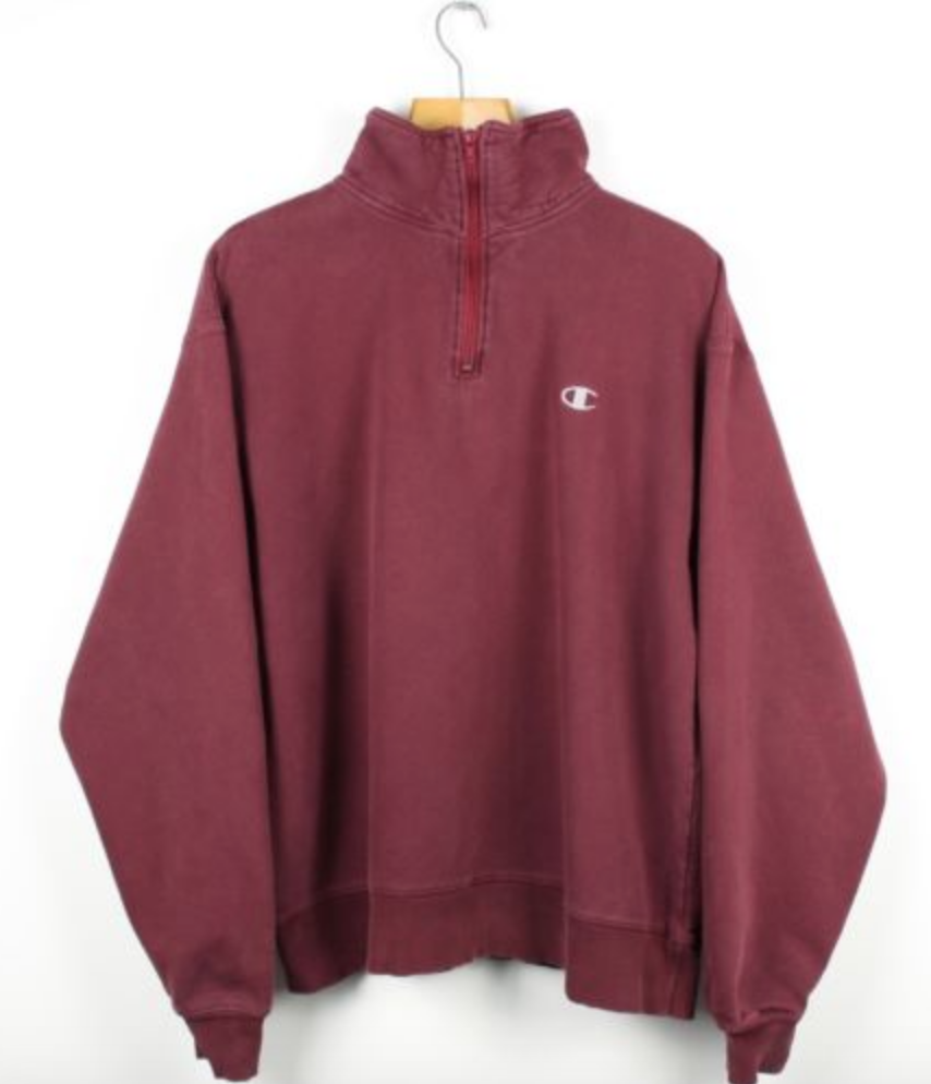 6285a8b58605 FOR SALE  Vintage CHAMPION USA 1 4 Zip Red Sweatshirt Jumper