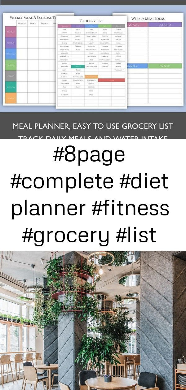 #8Page #Complete #diet planner #Fitness #Grocery #List #Meal #planner #planning #Track #Workout 8-Pa...
