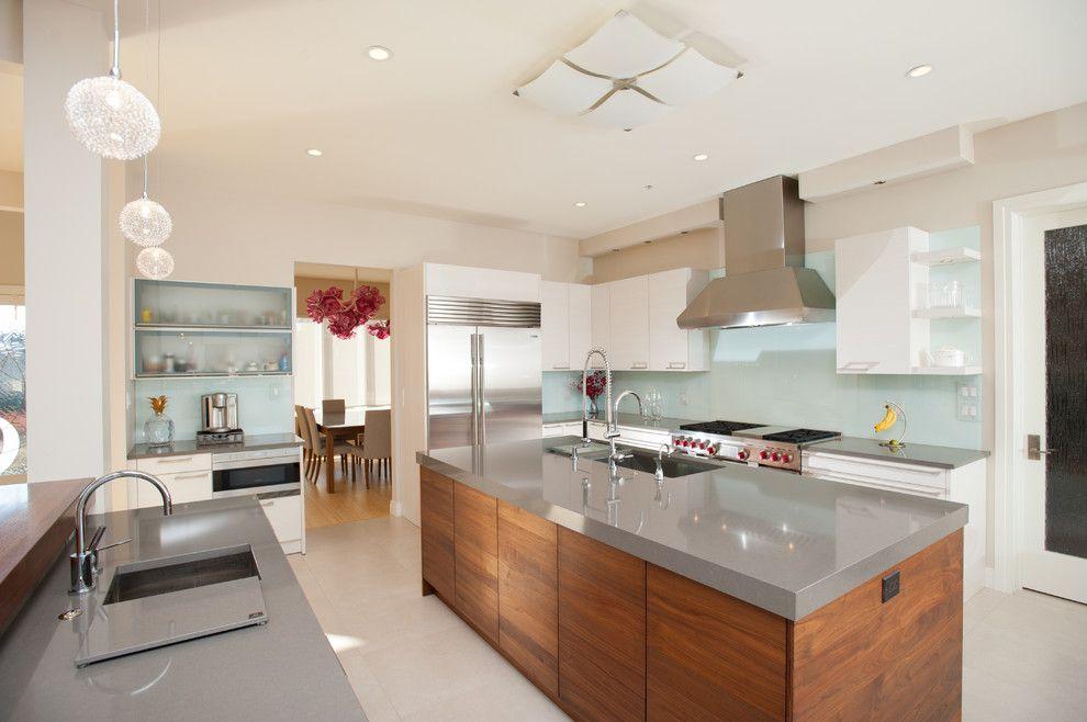 Grey Quartz Countertops Kitchen Contemporary With Aqua Glass