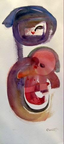 Artist: Sam Ovraiti Medium: Watercolour Theme: Untitled Size: 56 x 26 cm #african #art