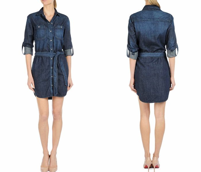 379fee2fb149 (1) The Serena Getaway Lightweight Denim One Piece Shirtdress Shirtall - AG  Jeans Womens Made in Denim ShirtDress   Chambray Rompers Top Pic.