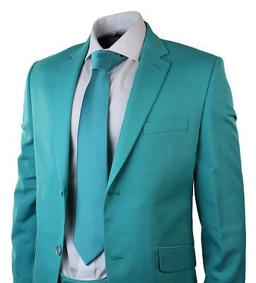 ea5f2bb9b6813a Mens Turquoise Green Suit Blazer Trouser & Tie Party Wedding Prom Tailored  Fit | eBay