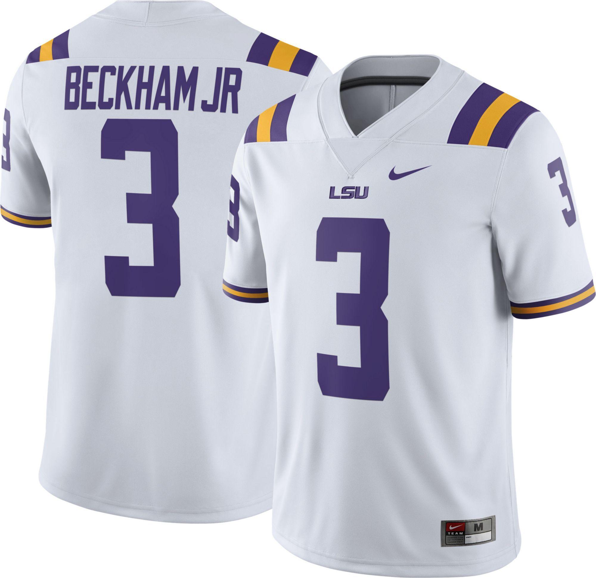 new style 2d280 678c1 Nike Men's Odell Beckham Jr. LSU Tigers #3 White Replica ...