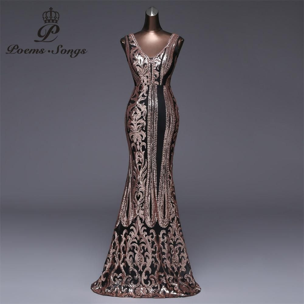 Poems Songs 2018 New Double-V Long Evening Dress vestido de festa longo Sexy  Backless Luxury Gold Long Sequin Evening Dress. Yesterday s price  US   108.00 ... 5c0cf97872d2