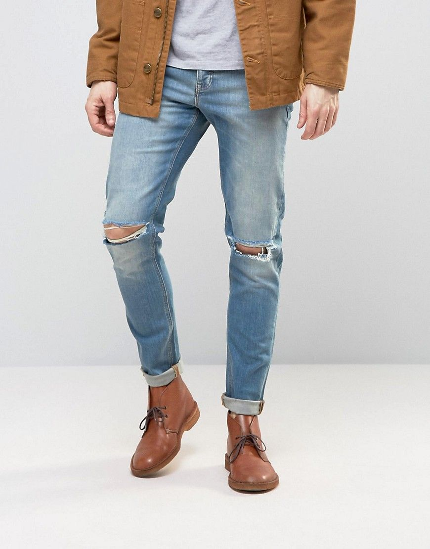 ASOS Skinny Jeans With Knee Rips In 12.5oz Light Blue - Blue. Pantalones  Vaqueros De Los HombresBlue Jeans AjustadosPitillos AzulesCorte PitilloRelojes  ...