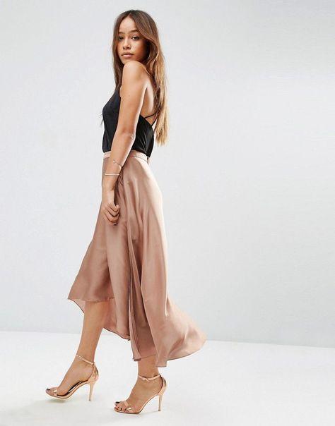asos midi skirt in satin with splices - gold | fashion
