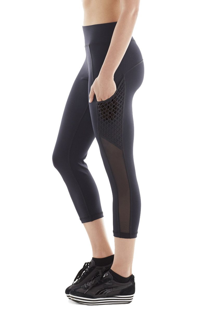 5a5ffaaf5bb3a Pockets!! Crop leggings with Sheer Side panels. Slimming + Ventilation.  8-way stretch. Wicking. Waistband is 3
