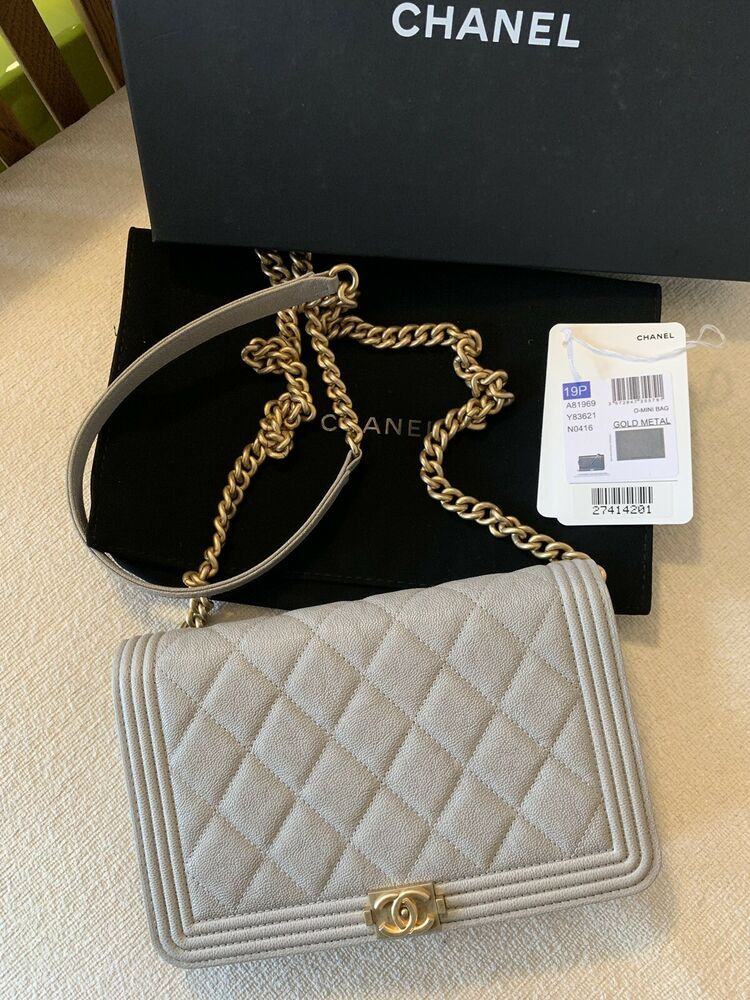 1e0a82c4c050 Authentic Chanel Grey Caviar Boy Wallet In Chain Flap Bag
