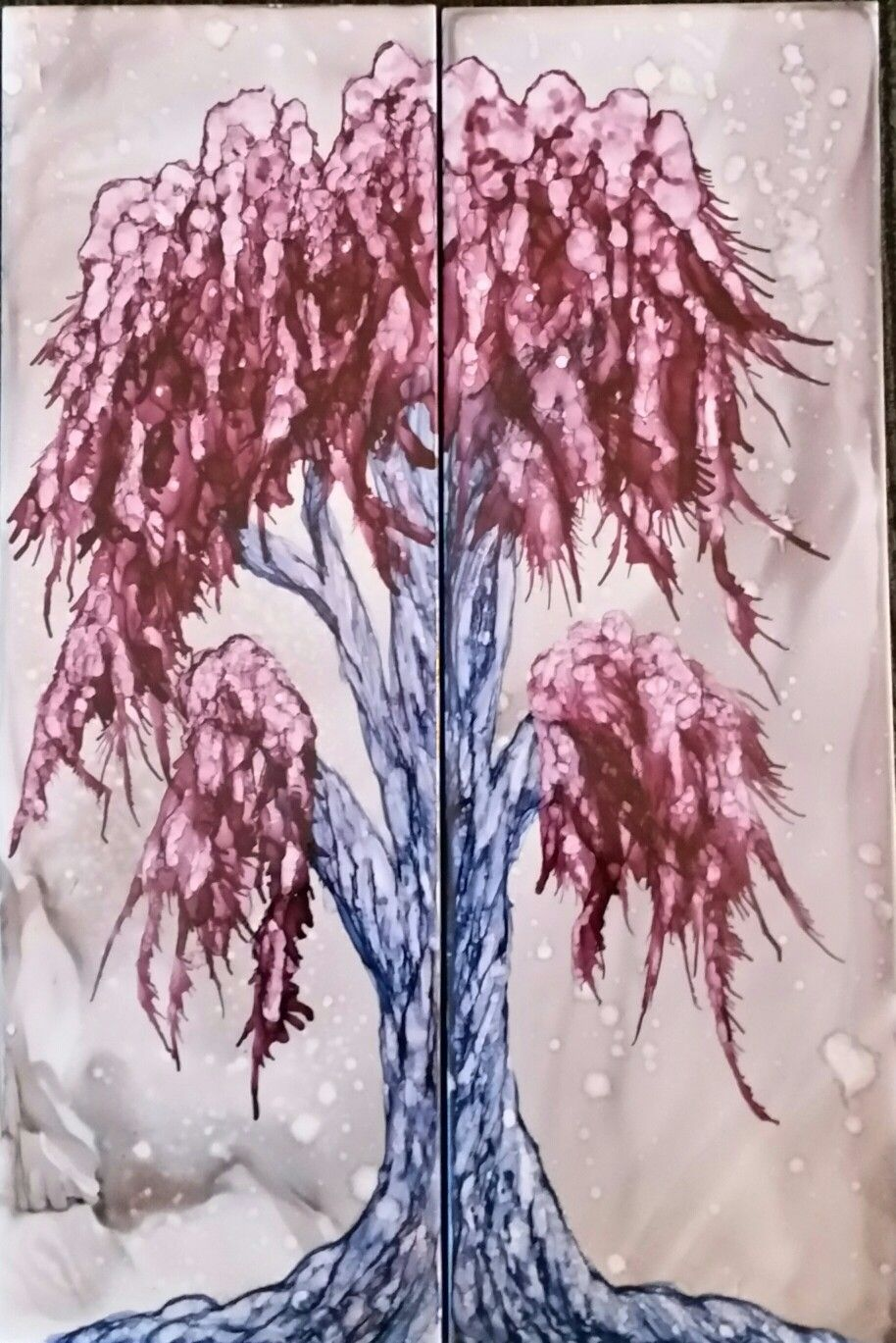 Mystical winter tree in alcohol ink on 12x4 ceramic tile by Tina
