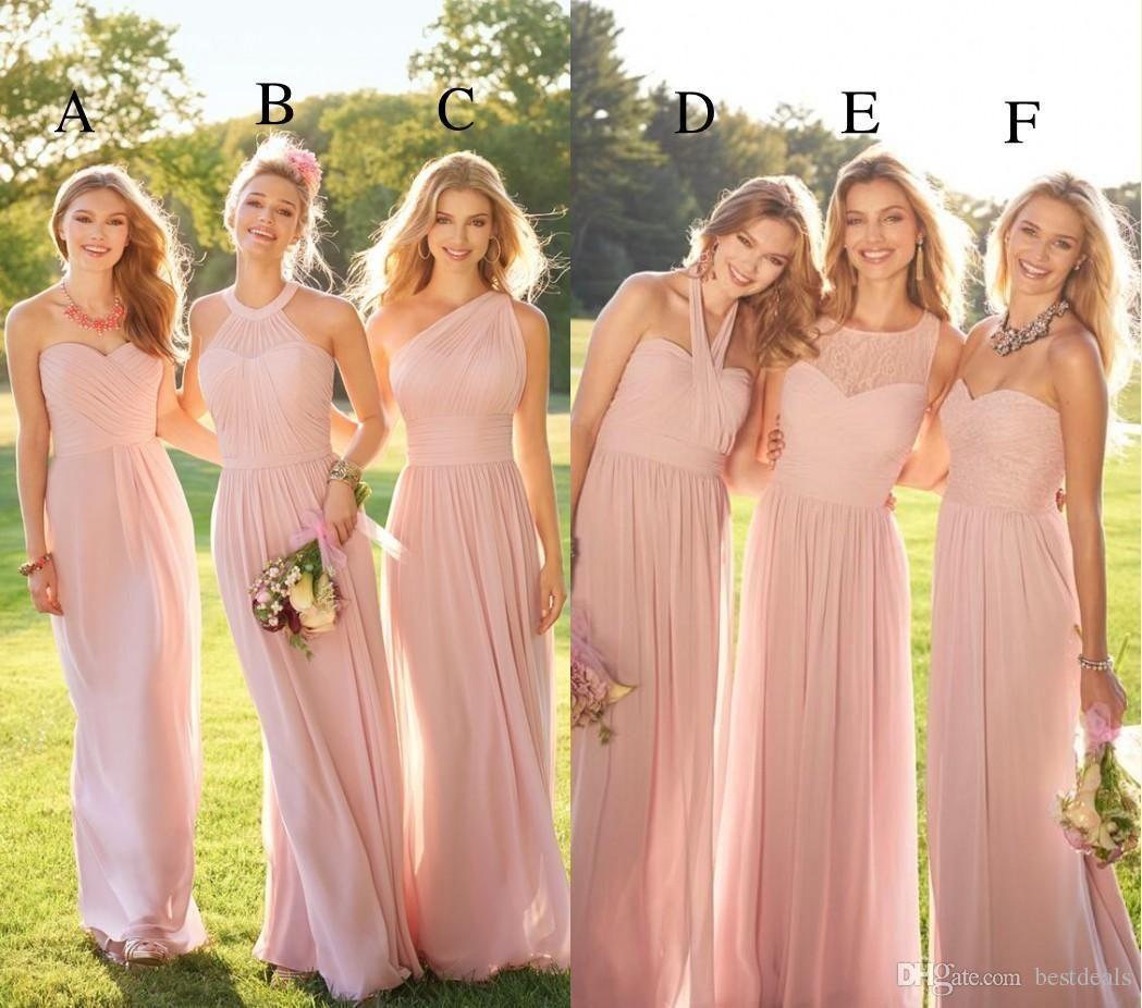 2017 Pastel Pink Cheap Long Lace Chiffon Bridesmaid Dresses Mixed Style Blush B Pastel Bridesmaid Dresses Lace Chiffon Bridesmaid Dress Pink Bridesmaid Dresses
