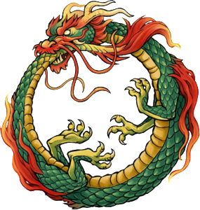 The Ouroboros symbol and sign, the snake eating its tail is depicted in this picture.